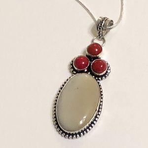 Ecru Jasper & Red Coral Pendant Necklace